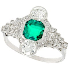 Antique French Emerald and 1.06 Carat Diamond Platinum Ring