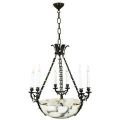 Antique French Empire Alabaster and Bronze Chandelier
