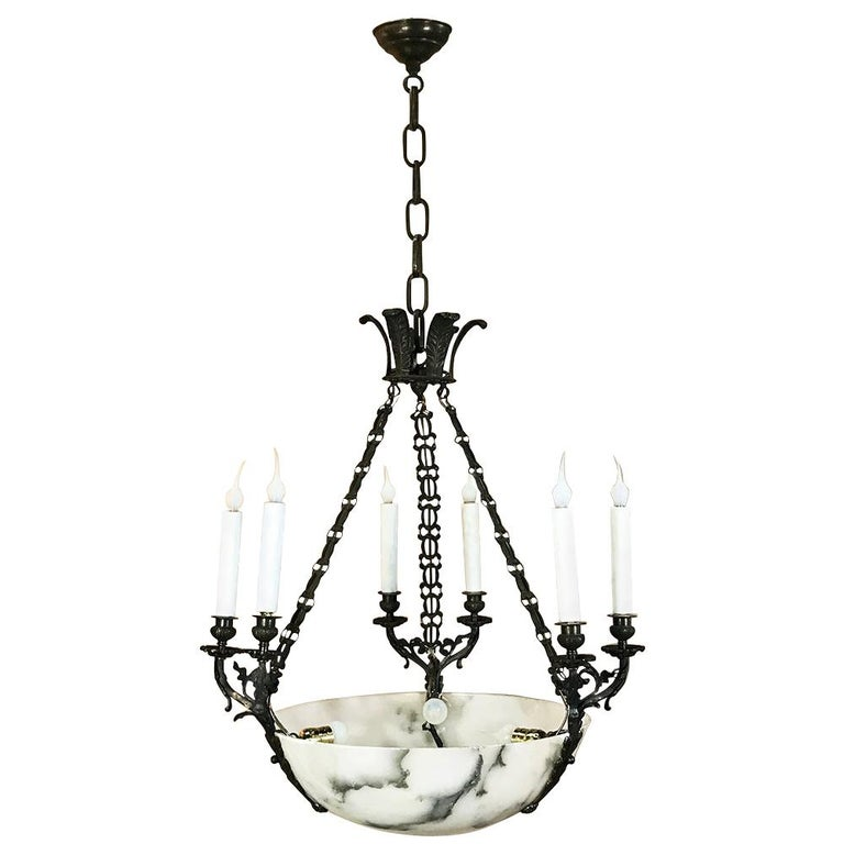 Antique French Empire Alabaster And Bronze Chandelier For