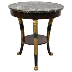 Antique French Empire Biedermeier Marble Top Eagle Carved Gueridon Center Table