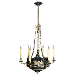 Antique French Empire Bronze & Brass Chandelier