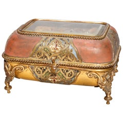 Antique French Empire Bronze & Champleve Enameled Dresser Box, Signed, C 1890