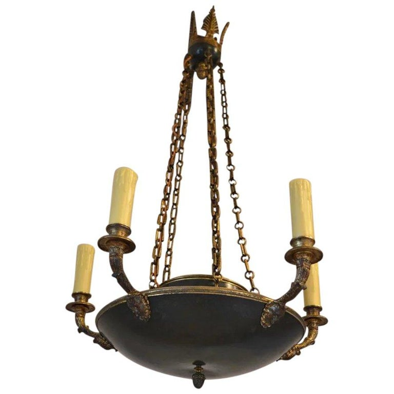 Antique French Empire Chandelier in Patinated Bronze, 19th Century For Sale - Antique French Empire Chandelier In Patinated Bronze, 19th Century