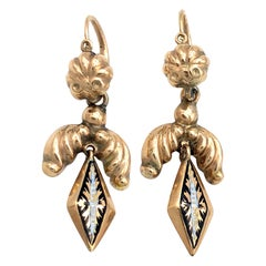 Antique  Empire Enamel Day and Night Rosegold Dangle Drop Earrings