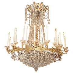 Antique French Empire Exceptional Ormolu and Baccarat Chandelier