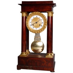 Antique French Empire Flame Mahogany and Ormolu Portico Clock, circa 1890