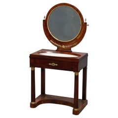 Antique French Empire Flame Mahogany & Ormolu Marble-Top Dressing Table, c 1810