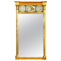Antique French Empire Floral Églomisé Trumeau Giltwood Wall Mirror, 19th Century