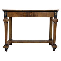 Antique French Empire Fruitwood Console Table with drawer, Early 19th Century