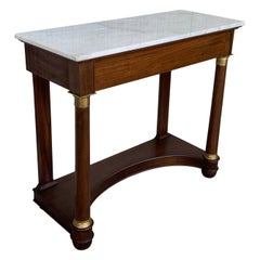 Antique French Empire Fruitwood Console Table with drawer, Early 20th Century