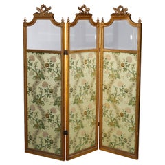 Antique French Empire Giltwood & Beveled Glass 3-Panel Dressing Screen 19th C