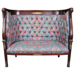 Antique French Empire Mahogany Figural High Back Swan Settee Tufted Bench