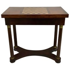 French 19th Century Empire Antique Mahogany Game Table