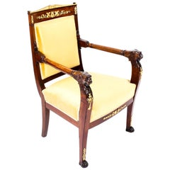 Antique French Empire Mahogany & Ormolu Mounted Armchair, Early 19th Century