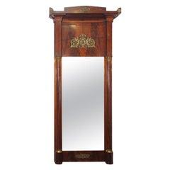 Antique French Empire Mahogany Pier Mirror