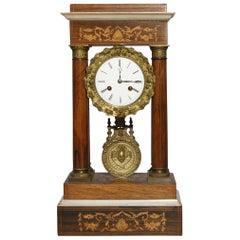 French Empire Mahogany, Satinwood Marquetry and Bronze Portico Clock, circa 1855