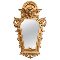 Antique French Empire Napoleon III Figural Giltwood Wall Mirror, circa 1880