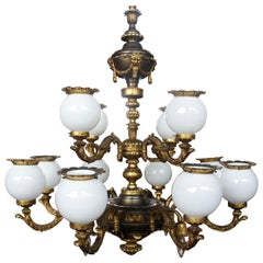 Antique French Empire Neoclassical Bronze Globe Chandelier 16 Lights Figural