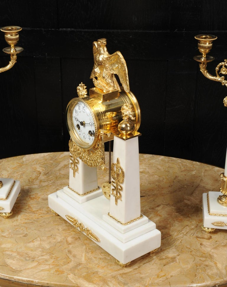 Antique French Empire Ormolu and Marble Portico Clock Set Eagle 6