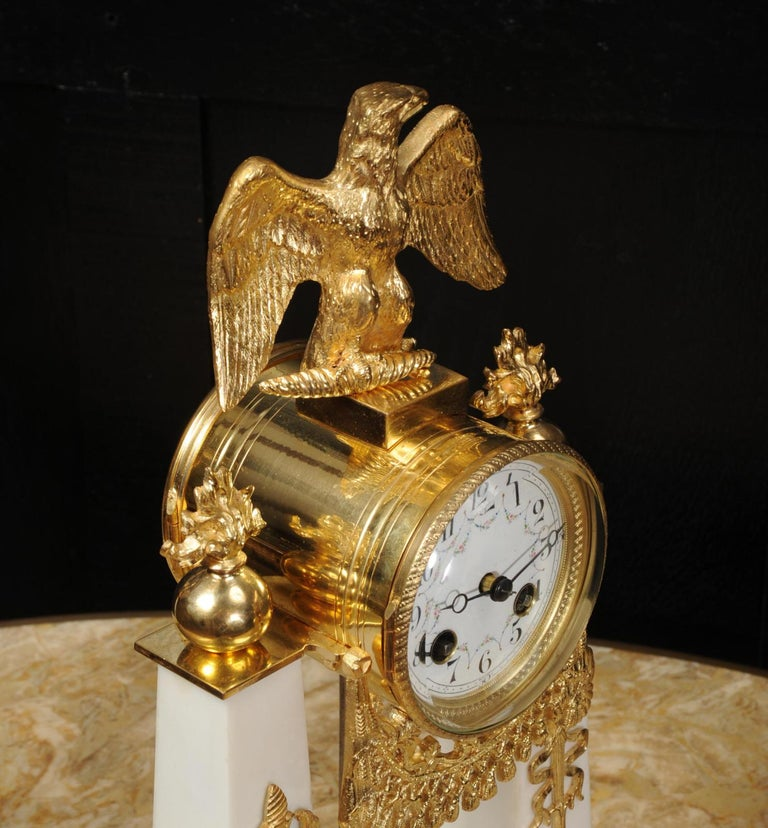 Antique French Empire Ormolu and Marble Portico Clock Set Eagle 7