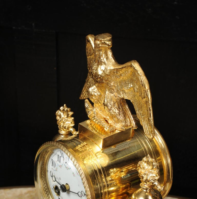 Antique French Empire Ormolu and Marble Portico Clock Set Eagle 8