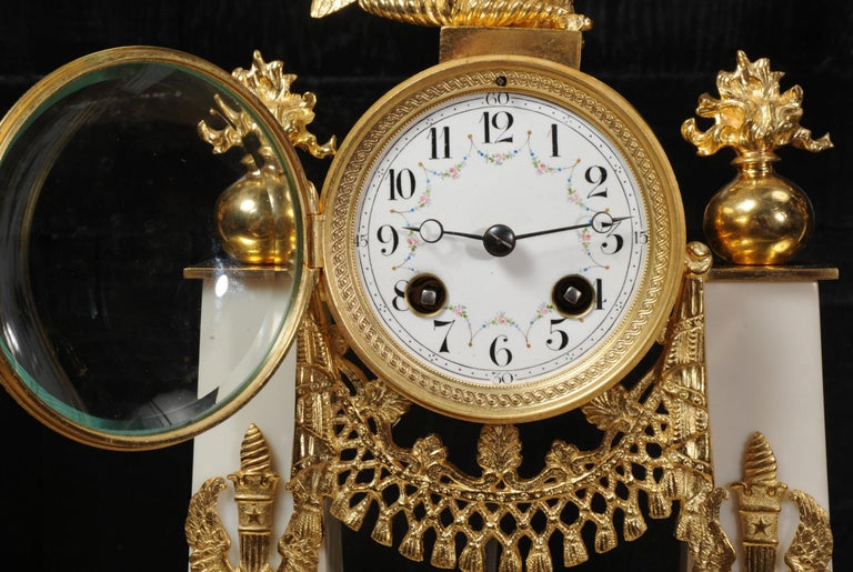 Antique French Empire Ormolu and Marble Portico Clock Set Eagle 9