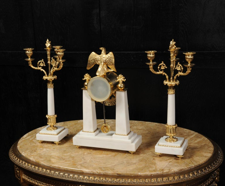 Antique French Empire Ormolu and Marble Portico Clock Set Eagle 15
