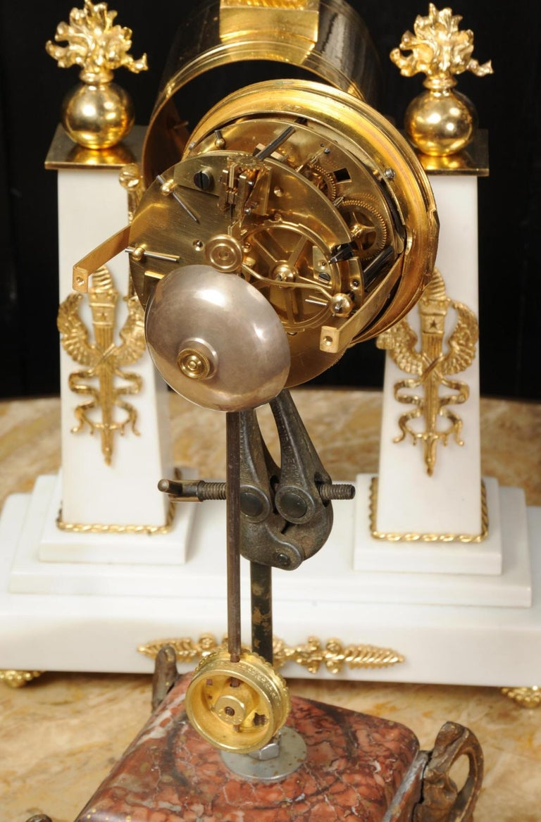 Antique French Empire Ormolu and Marble Portico Clock Set Eagle 16
