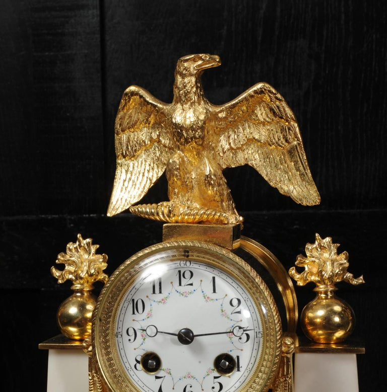 Antique French Empire Ormolu and Marble Portico Clock Set Eagle In Good Condition In Belper, Derbyshire