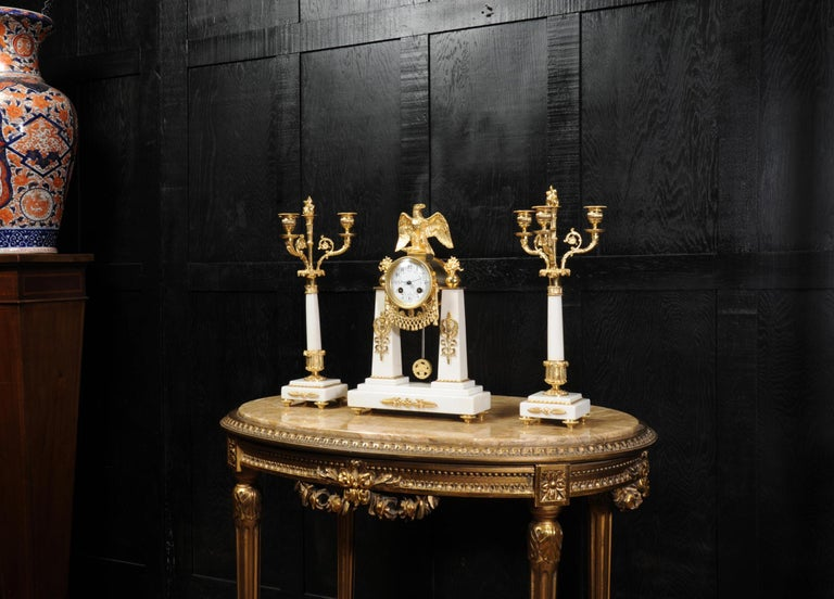 19th Century Antique French Empire Ormolu and Marble Portico Clock Set Eagle