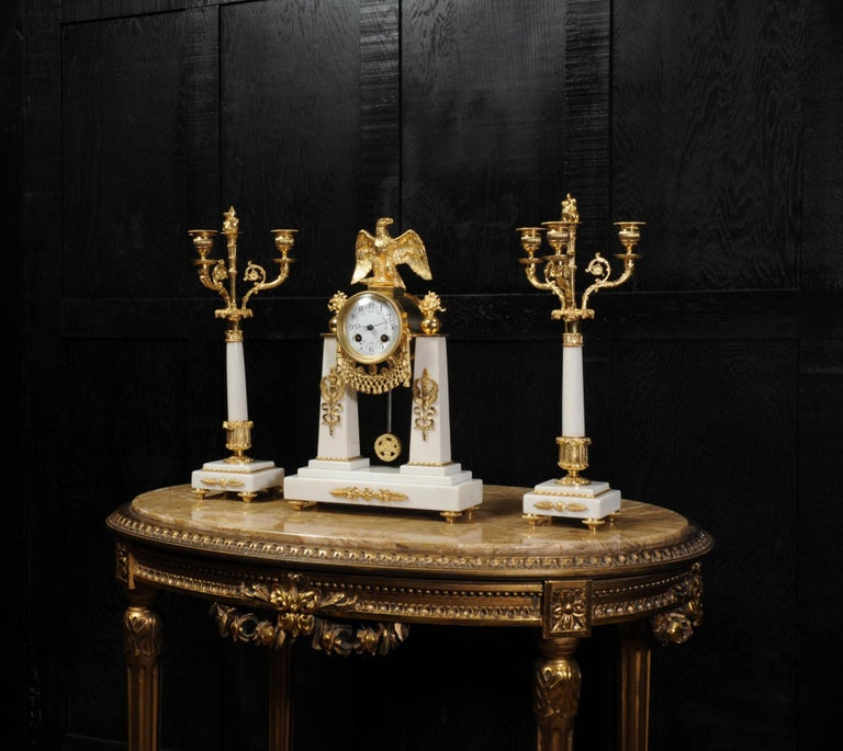 Antique French Empire Ormolu and Marble Portico Clock Set Eagle 1