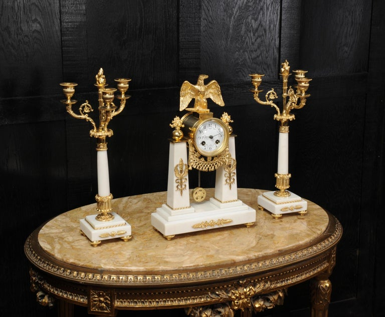Antique French Empire Ormolu and Marble Portico Clock Set Eagle 2