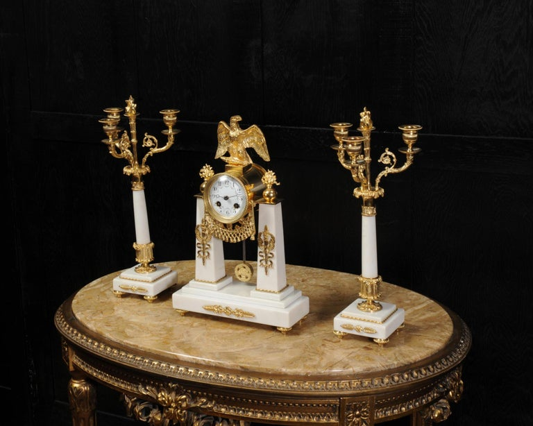 Antique French Empire Ormolu and Marble Portico Clock Set Eagle 3