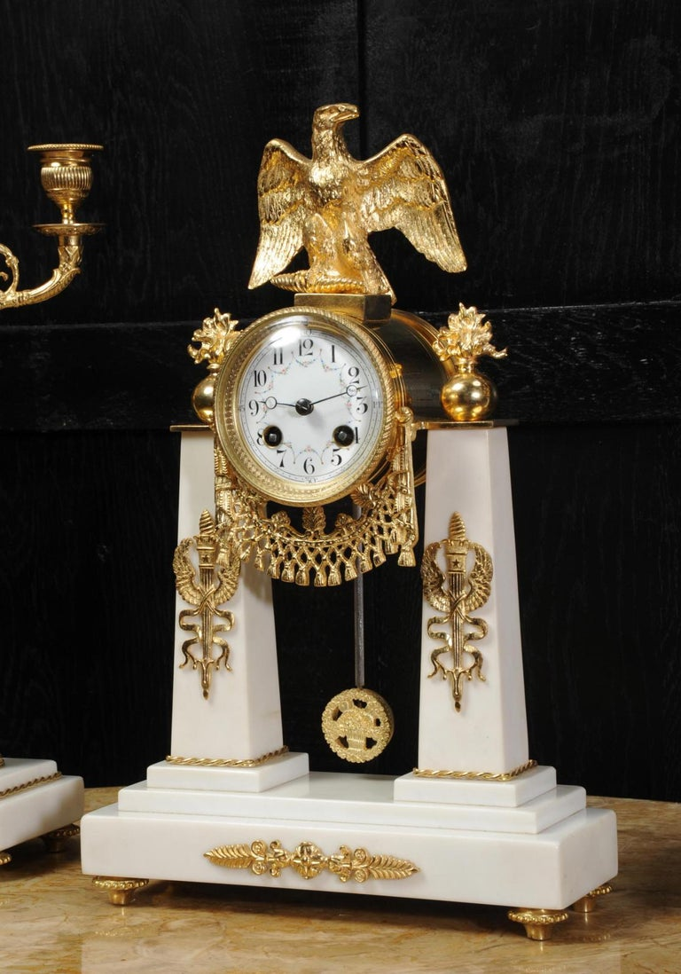 Antique French Empire Ormolu and Marble Portico Clock Set Eagle 4