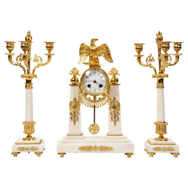 Antique French Empire Ormolu and Marble Portico Clock Set Eagle