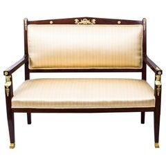 Antique French Empire Ormolu Mounted Mahogany Sofa, Early 20th Century