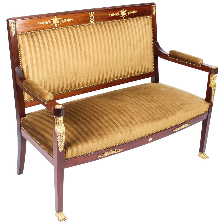 Antique French Empire Ormolu Mounted Sofa Settee, 19th Century