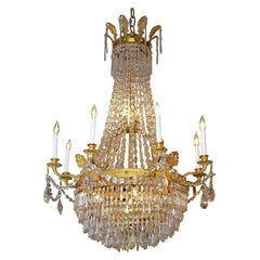 Antique French Empire Ormulu and Baccarat Crystal Chandelier, circa 1880-1890