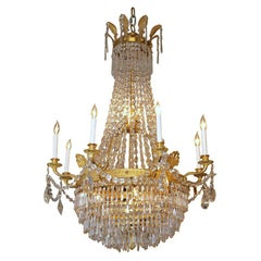 Antique French Empire Ormulu and Baccarat Crystal Chandelier