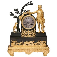 Antique French Empire Period Gilt Bronze Mantel Clock