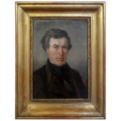 Antique French Empire Portrait Oil on Canvas in Giltwood Frame