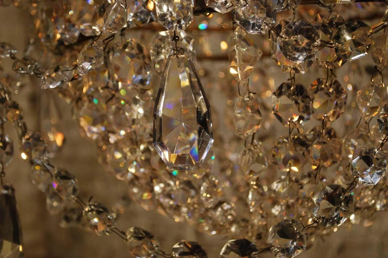 """Antique French Empire """"sac de perles"""" Crystal Lustre or Chandelier 11"""