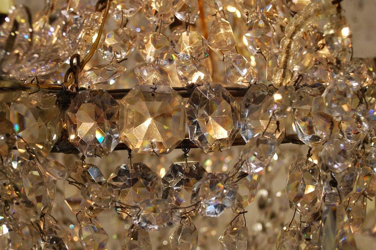 """Antique French Empire """"sac de perles"""" Crystal Lustre or Chandelier 12"""