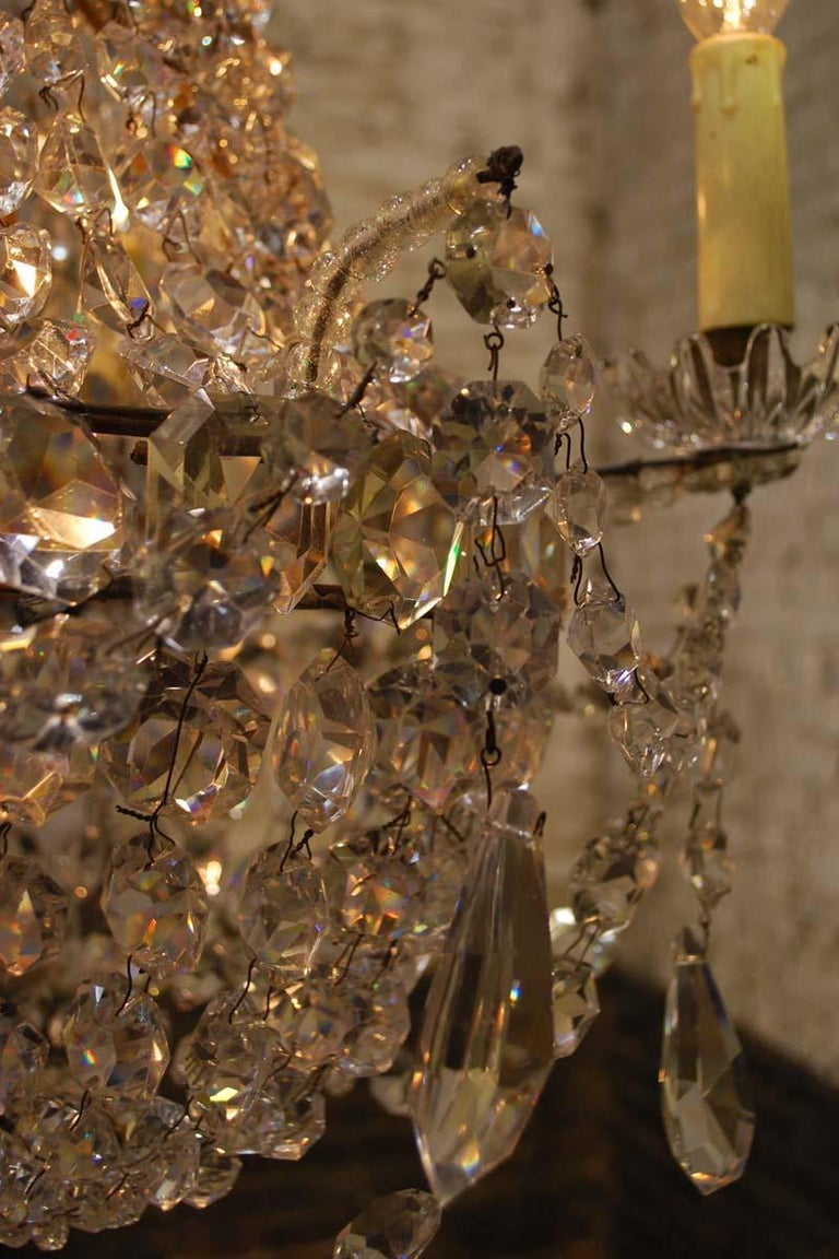 """Antique French Empire """"sac de perles"""" Crystal Lustre or Chandelier 13"""