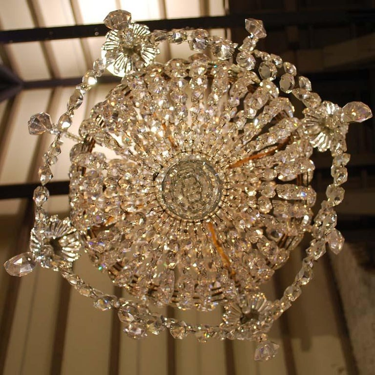 """Antique French Empire """"sac de perles"""" Crystal Lustre or Chandelier 14"""