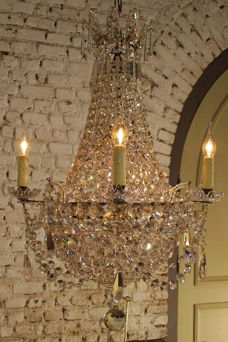 """Antique French Empire """"sac de perles"""" Crystal Lustre or Chandelier 2"""