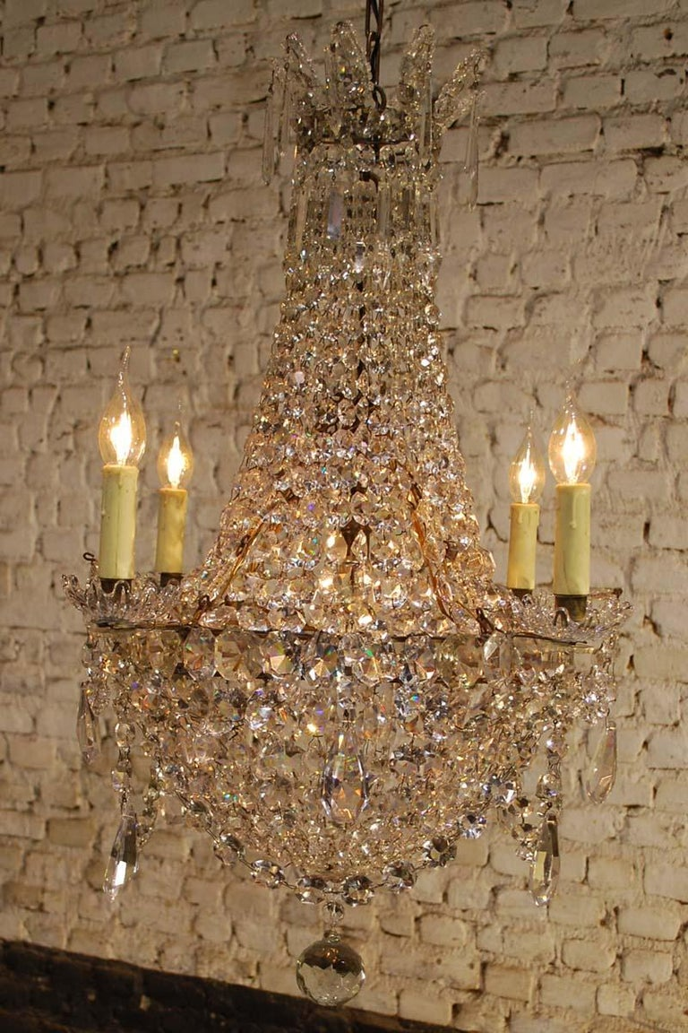 """Antique French Empire """"sac de perles"""" Crystal Lustre or Chandelier 3"""
