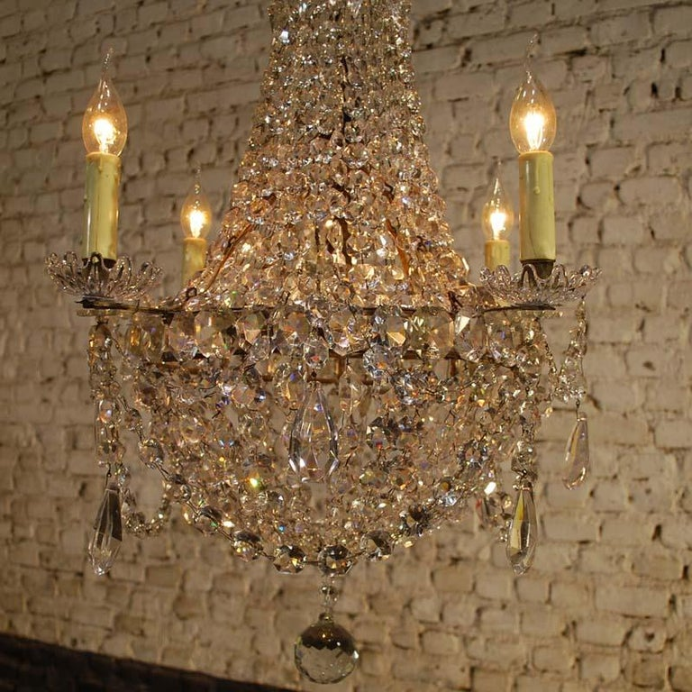 """Antique French Empire """"sac de perles"""" Crystal Lustre or Chandelier 4"""