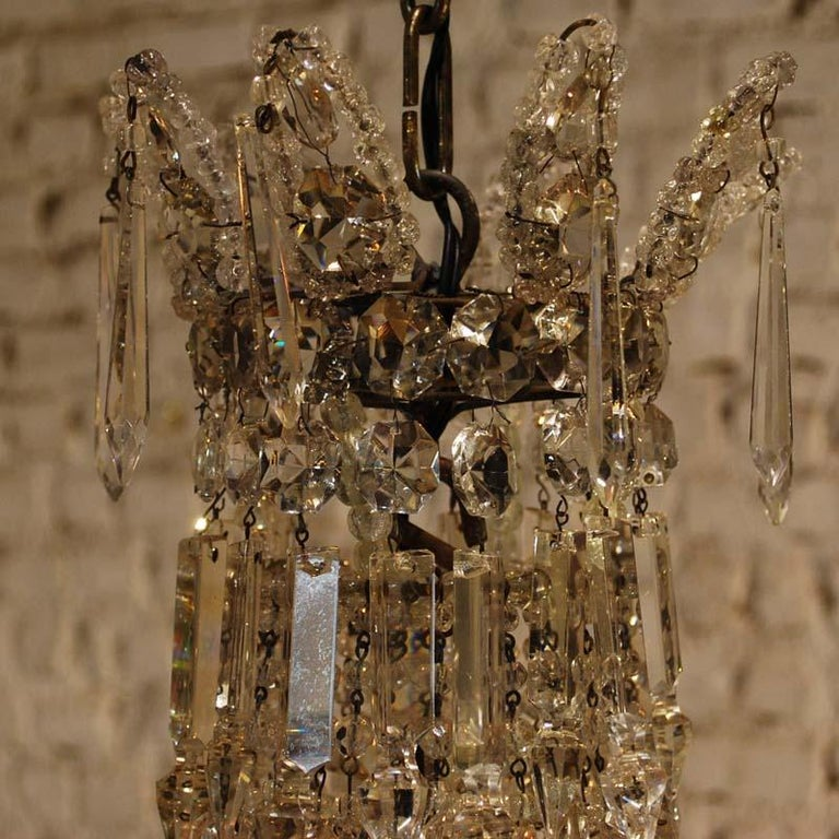"""Antique French Empire """"sac de perles"""" Crystal Lustre or Chandelier 5"""