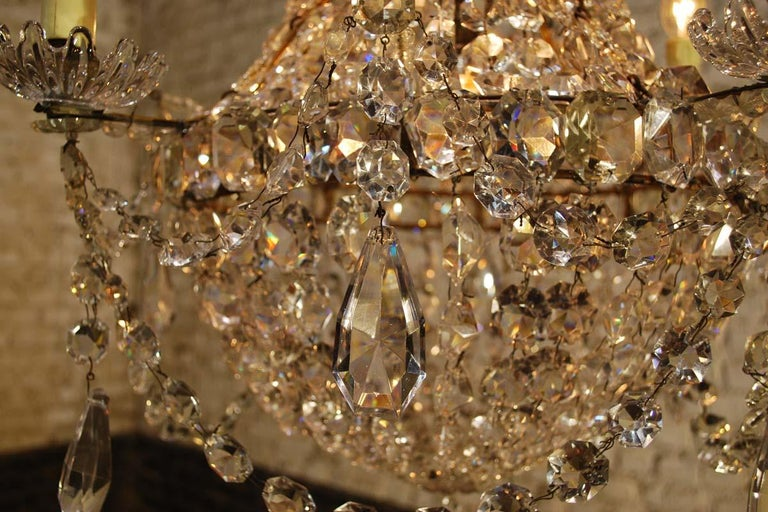 """Antique French Empire """"sac de perles"""" Crystal Lustre or Chandelier 8"""